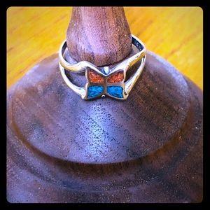 Turquoise and Coral Butterfly Ring. Vintage Silver